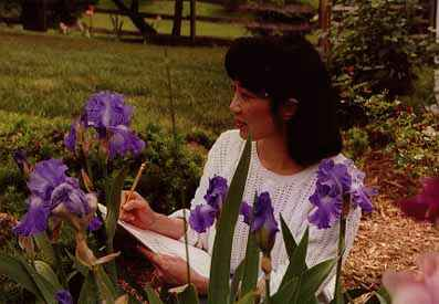 Lena with Irises