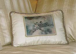 Chickadees with Pine Tree Pillow