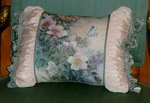 Butterfly with Clematis Pillow