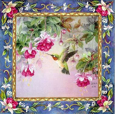 Anna's Hummingbird with Fuchsia Art Tile
