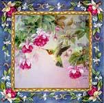 Anna's Hummingbird w/Fuchsia Art Tile**
