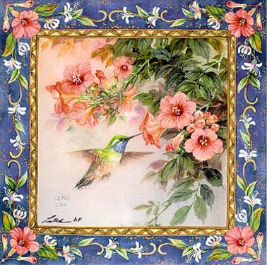 Hummingbird with Trumpet Vine Art Tile