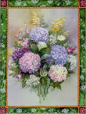 Hydrangea Bouquet Art Tile